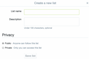 Create a new Twitter list